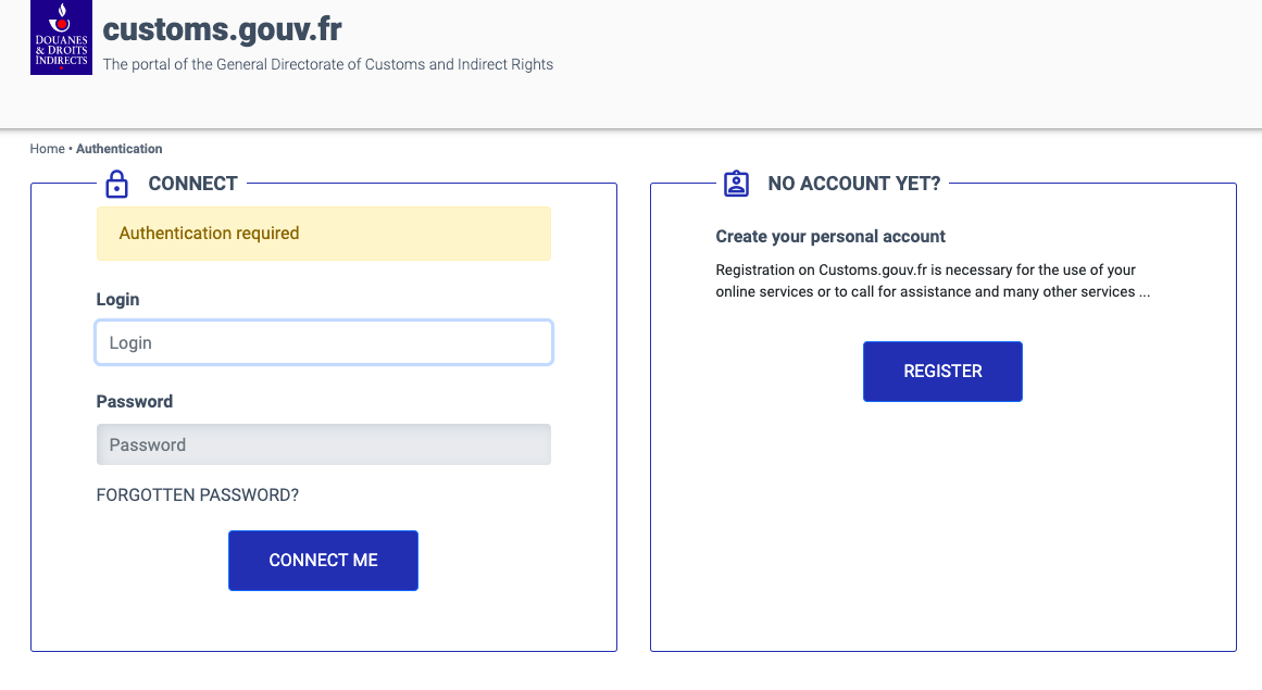 Logging in to France customs authority website