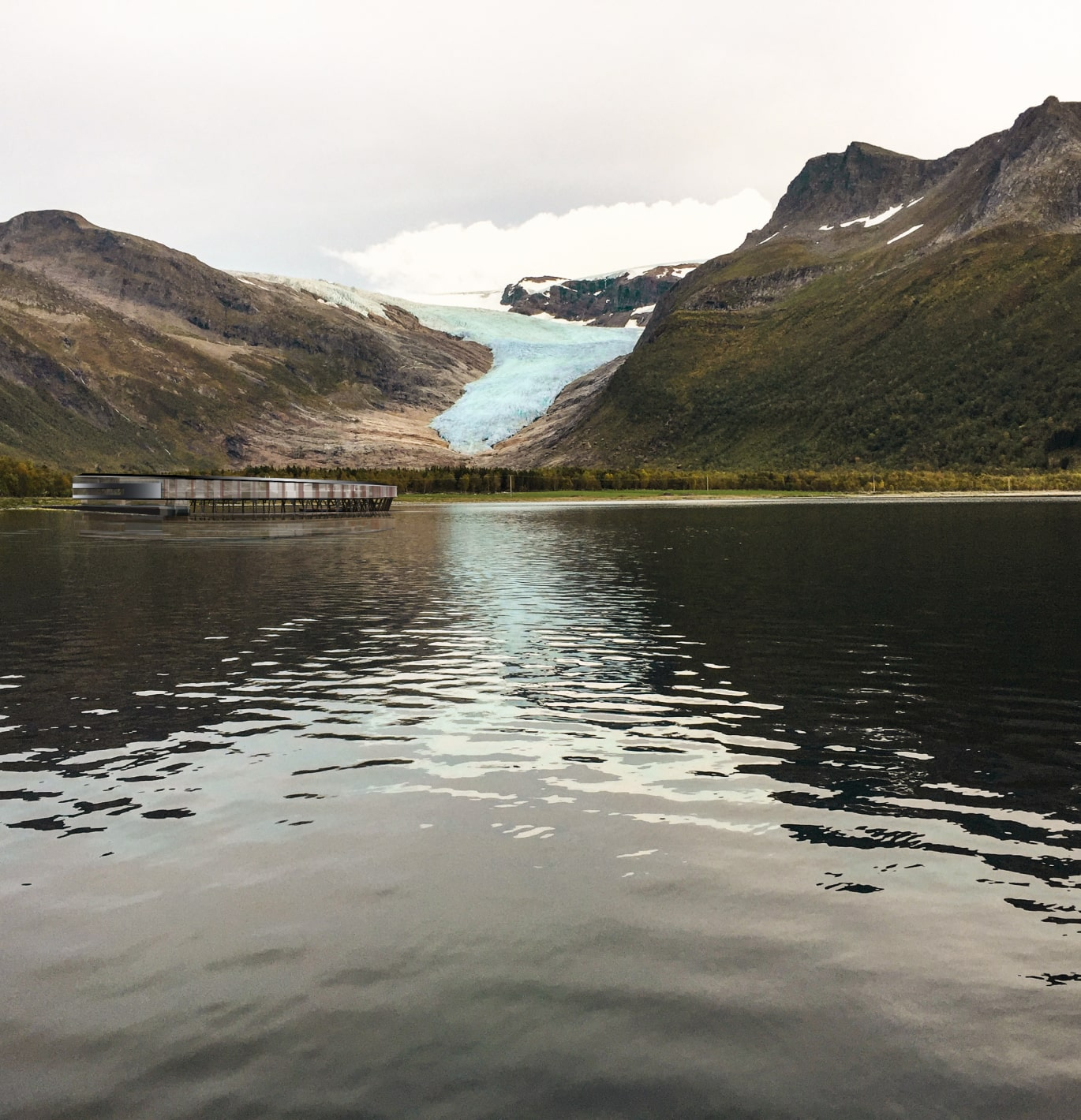 Groundlevel view of Svart hotel, lake and glacier.
