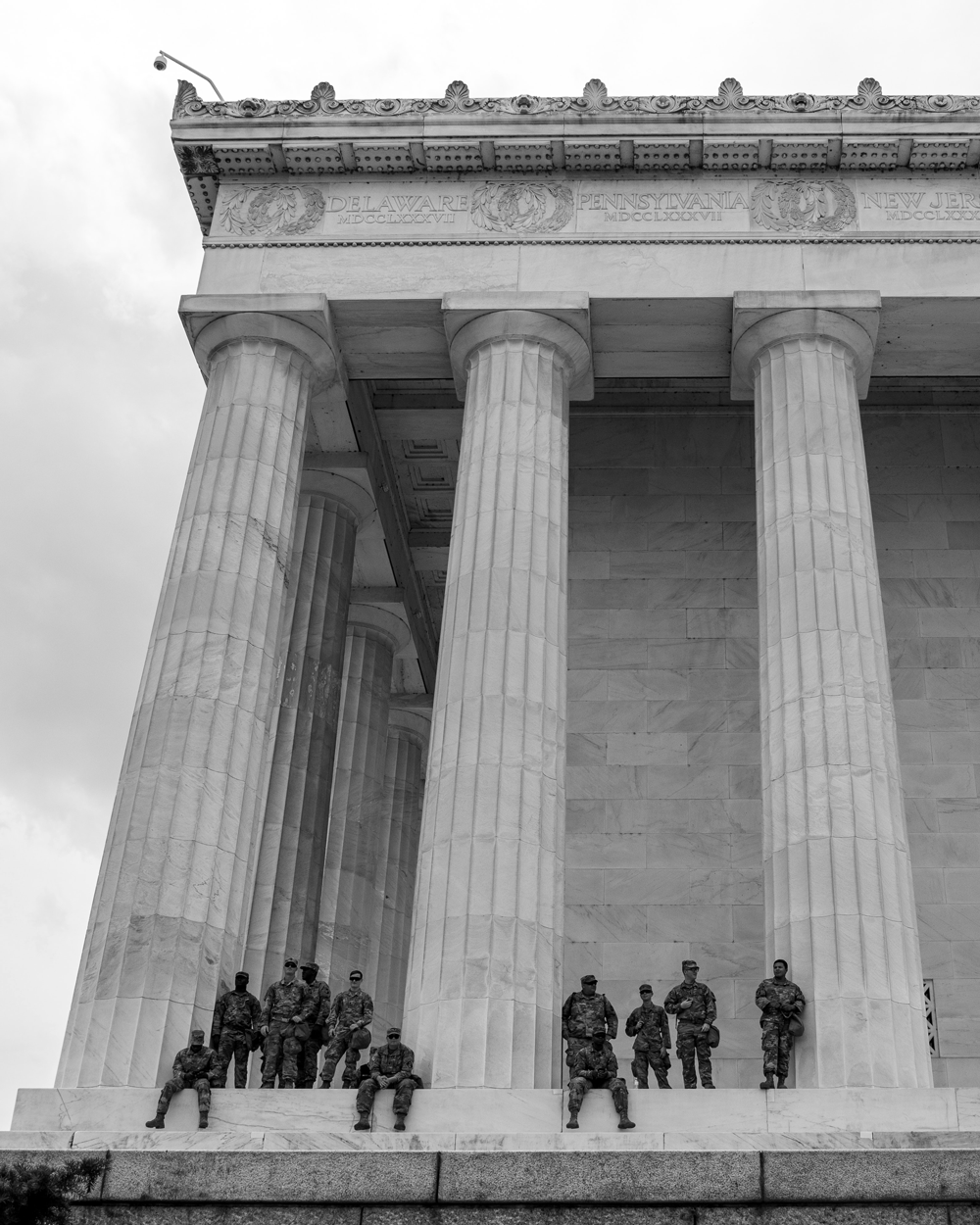 National Guard on the steps of the Lincoln Memorial at a Black Lives Matter protest