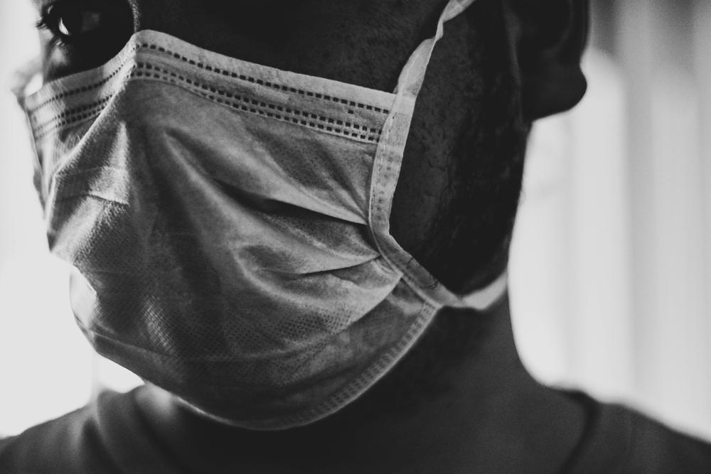 Person in a COVID mask