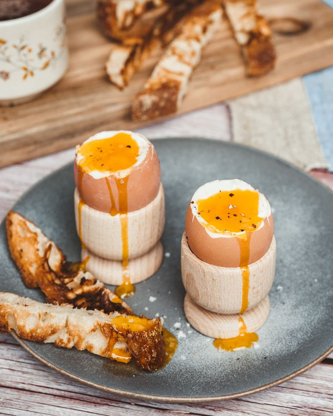 Purely Organic Dippy Eggs with bread