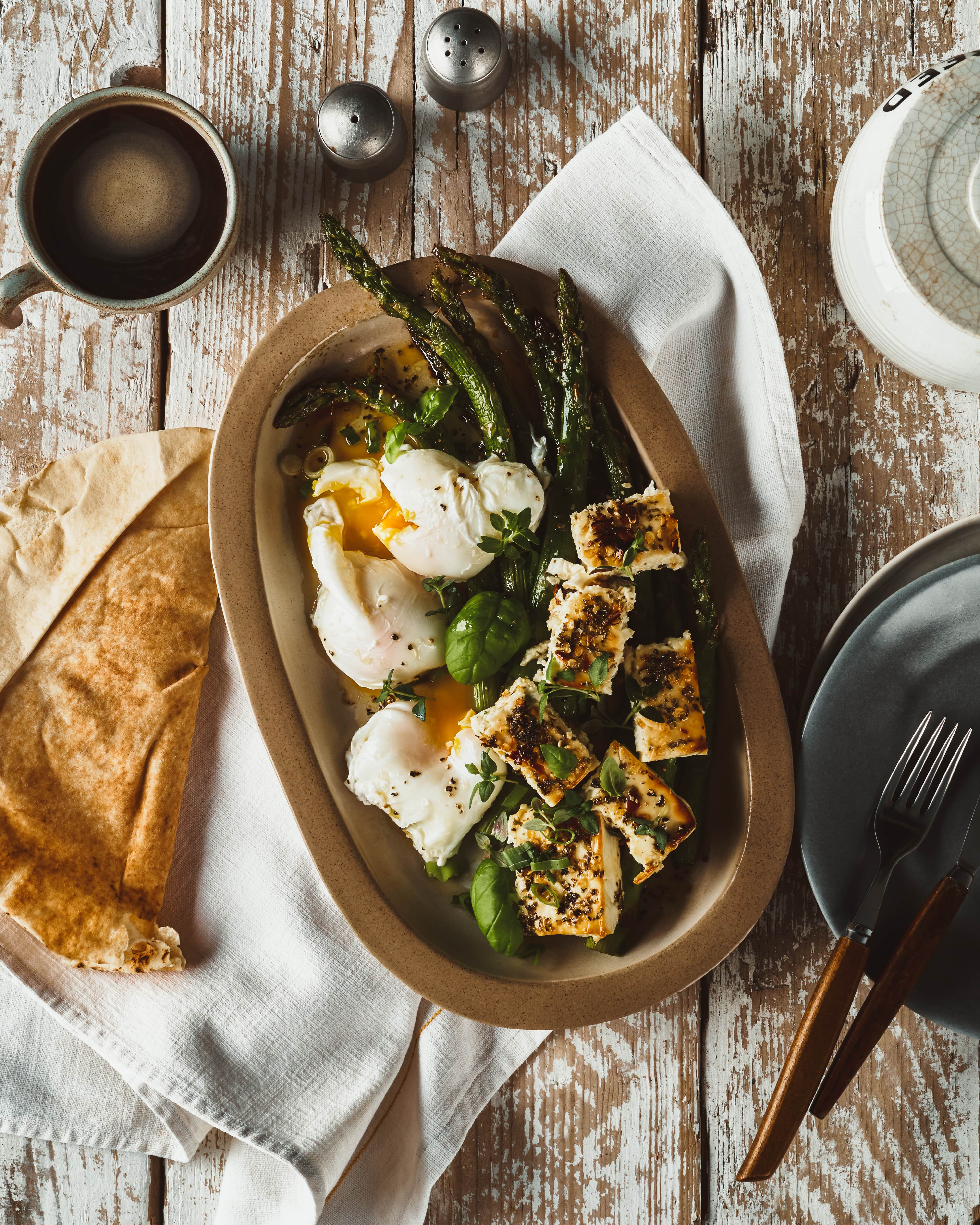 Asparagus & Baked Feta Salad With Poached Eggs