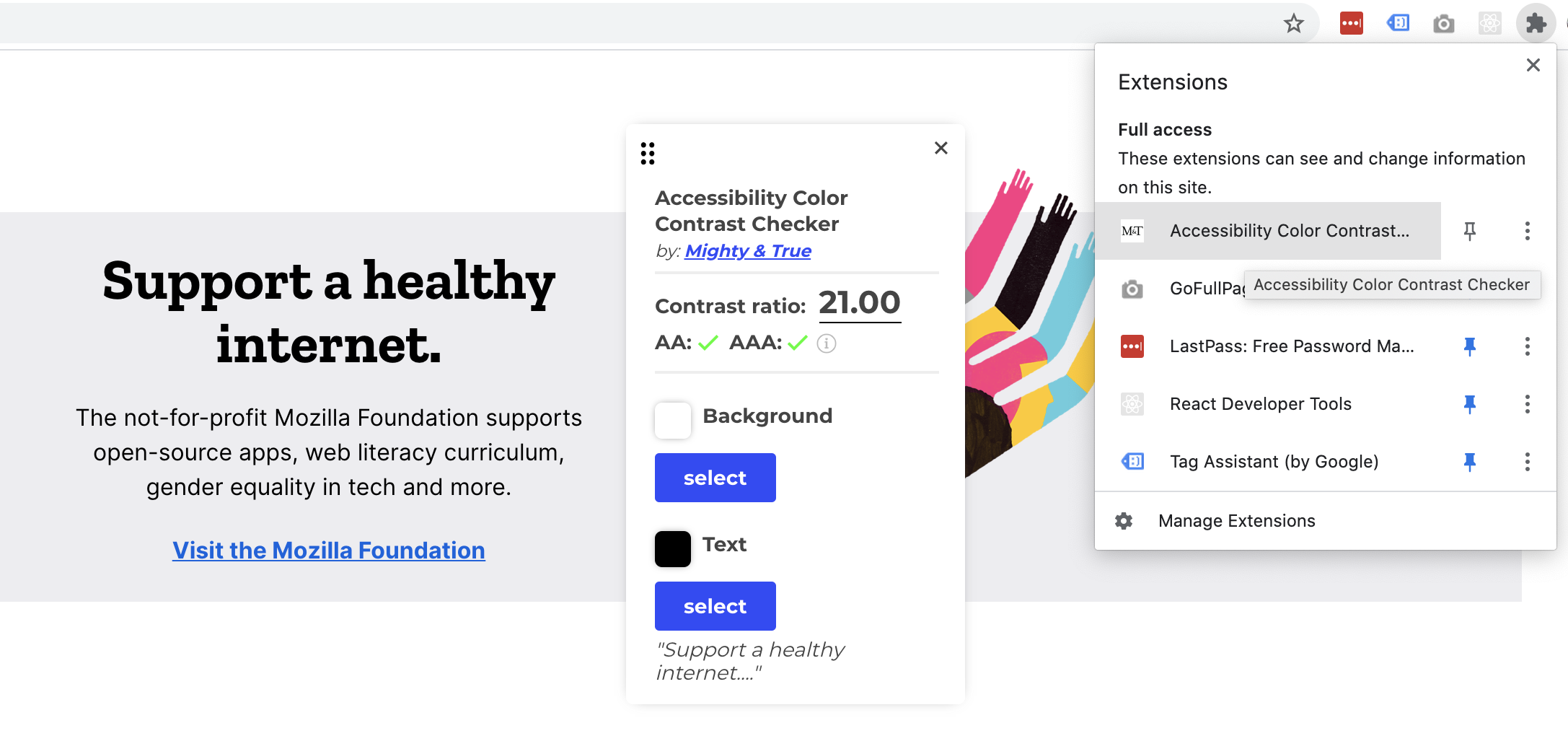 Accessibility Color Contrast Checker screenshot