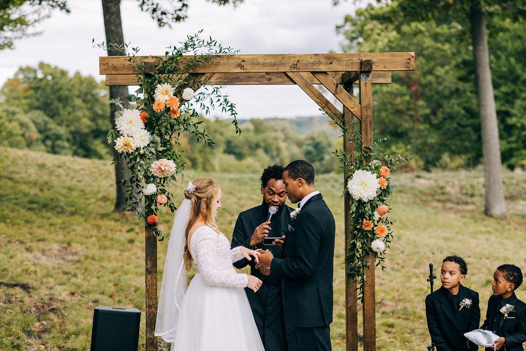 groom saying wedding vows