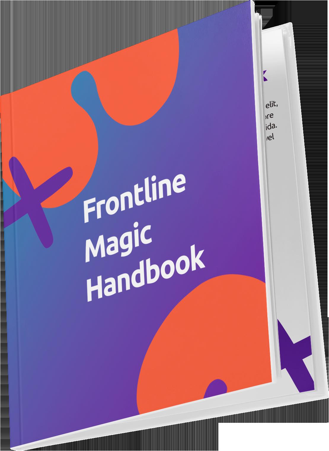 Frontline Magic Handbook Mockup Purple and Orange