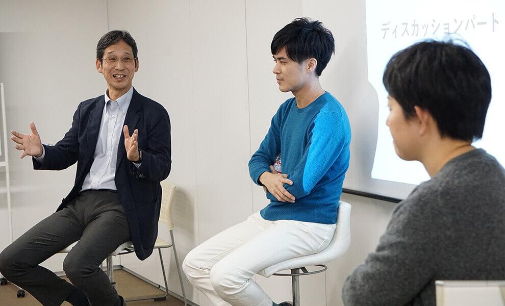 米田氏、神谷氏、野島氏の講演風景