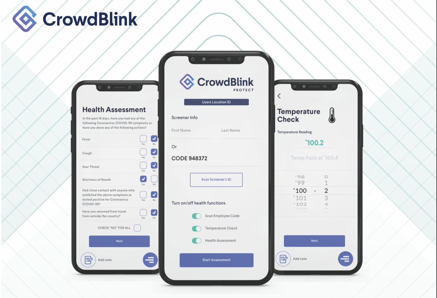 CrowdBlink Protect mobile application being used to screen for symptoms of COVID-19 by a business.
