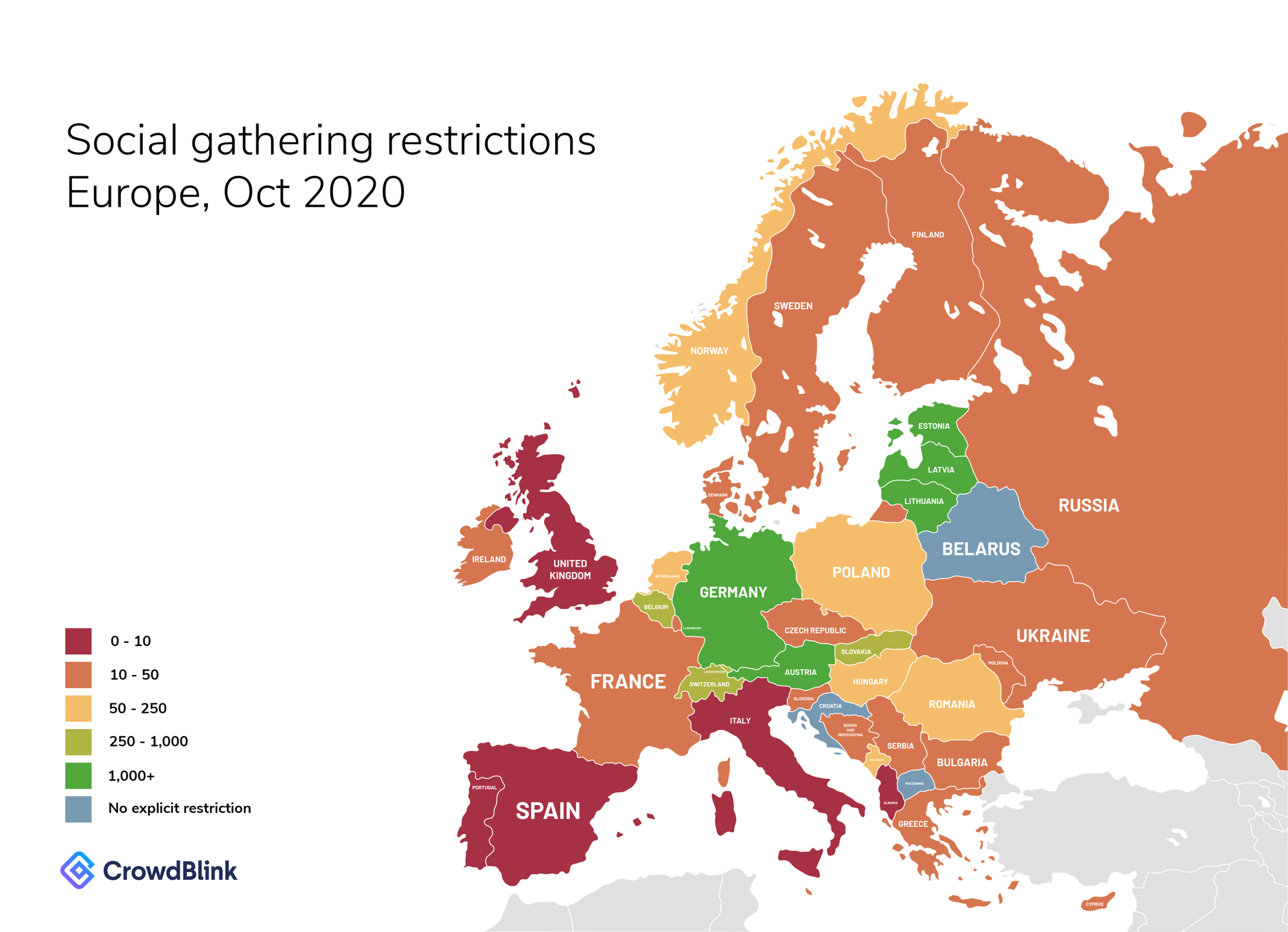 Social Gathering and Event Restriction Map for Europe, October 2020