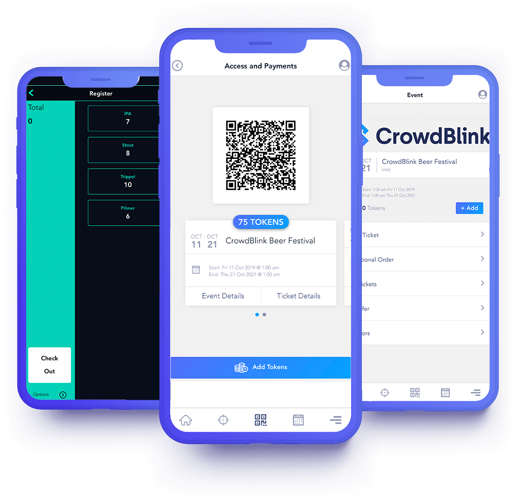 Cashless payments system for events shown through its mobile application option - CrowdBlink