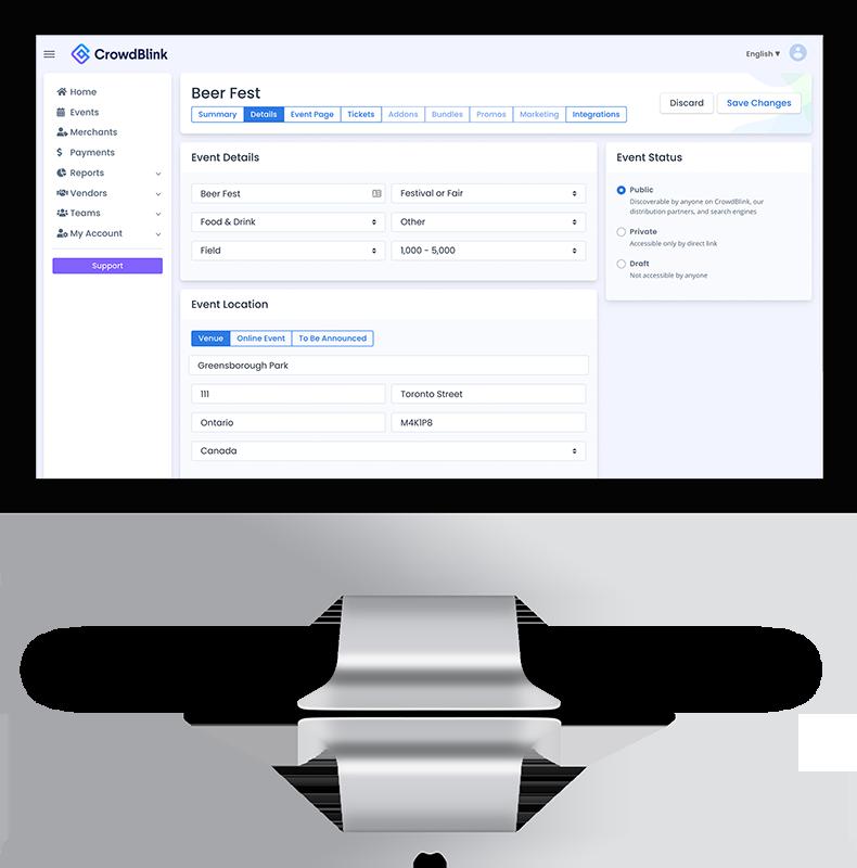 Cashless payment software backend shown running on a computer screen - CrowdBlink