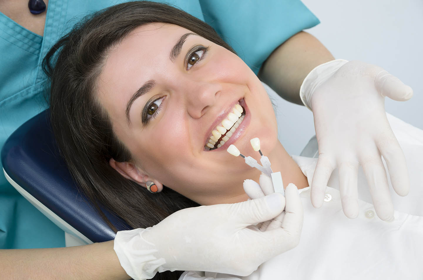 Patient getting veneers matched to their mouth