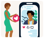 A black woman giving a heart to a black man on a mobile device
