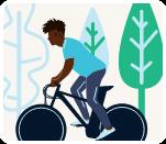 A black man riding a bike
