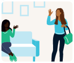 A person of color with a purse waving at a black woman sitting down on a couch