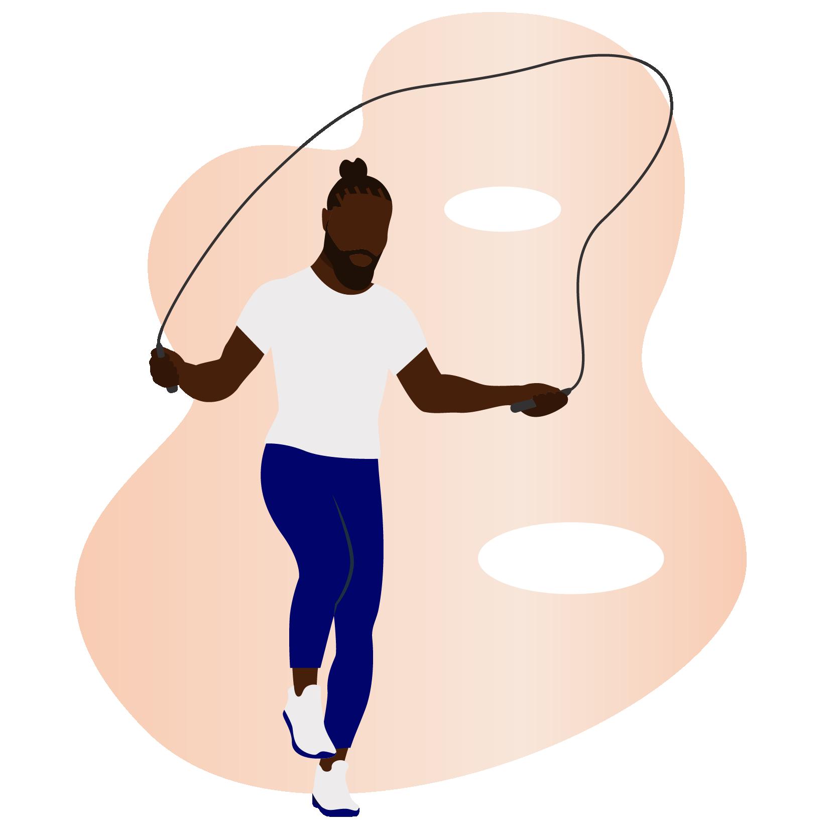A black man jumping rope