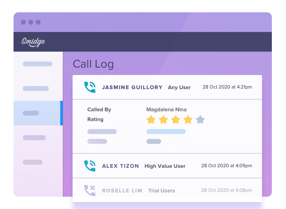 Call logs keep the whole team organised and on top of interactions