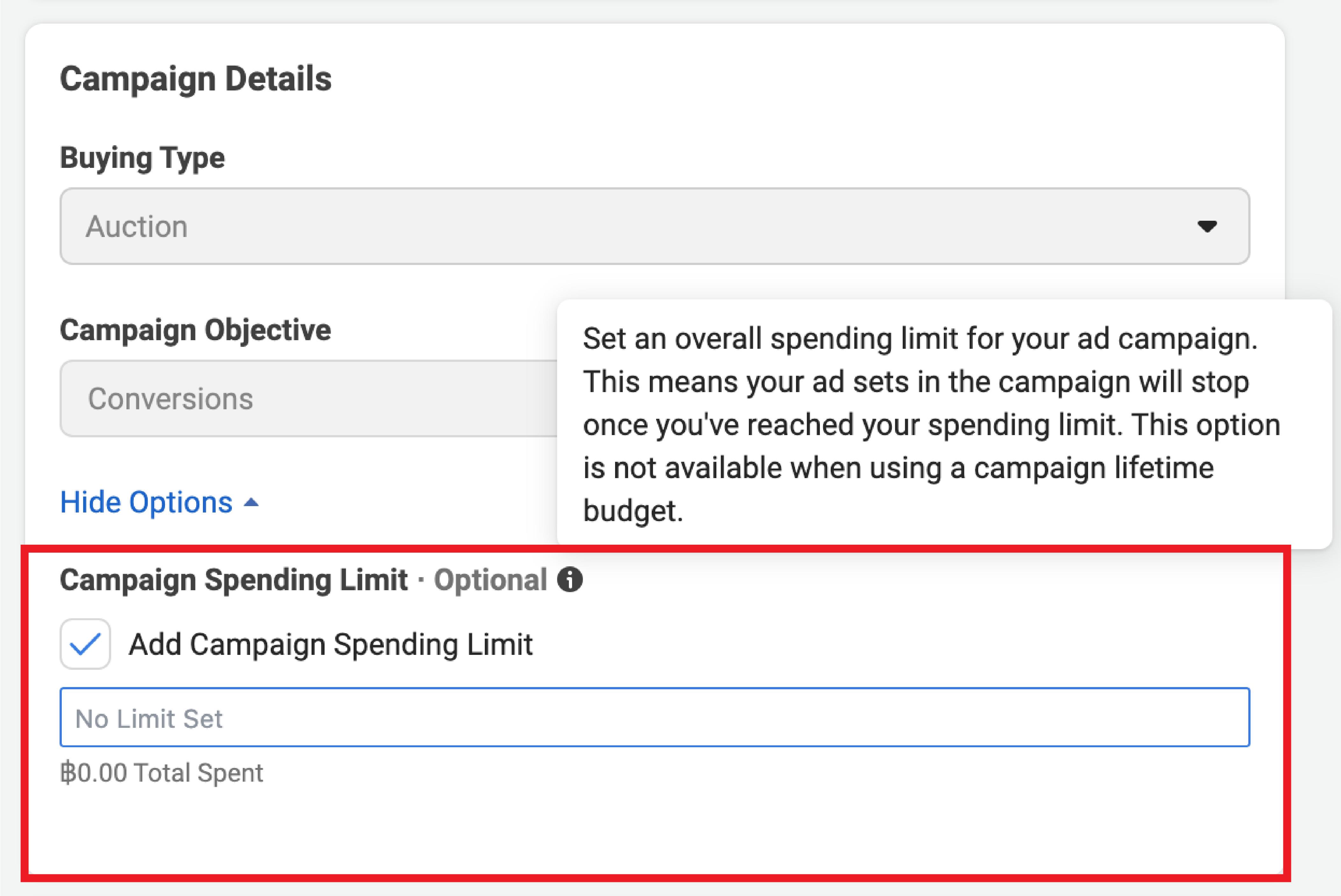 Facebook Campaign spending limit