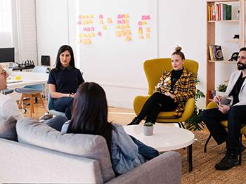 A business team having a meeting