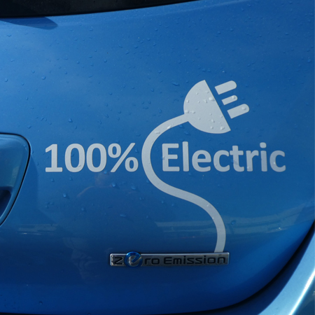 An electric car with a zero emission marking