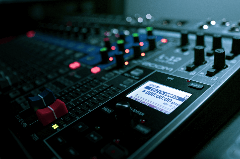 Image of a mixing panel inside of the Nerdfusion studio.