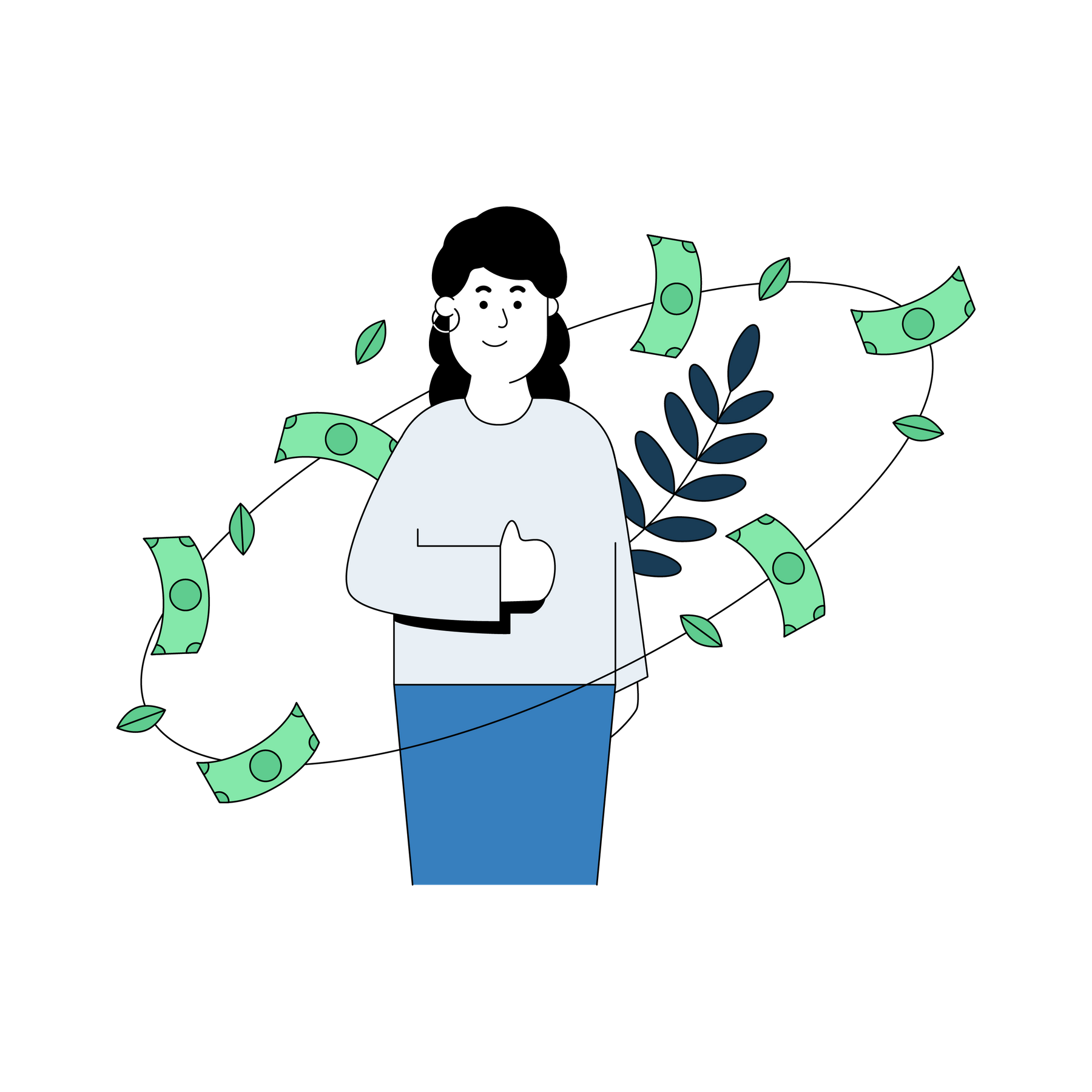 Illustration of woman with money circling her.