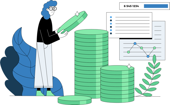Illustration of woman, coins, and graphs.