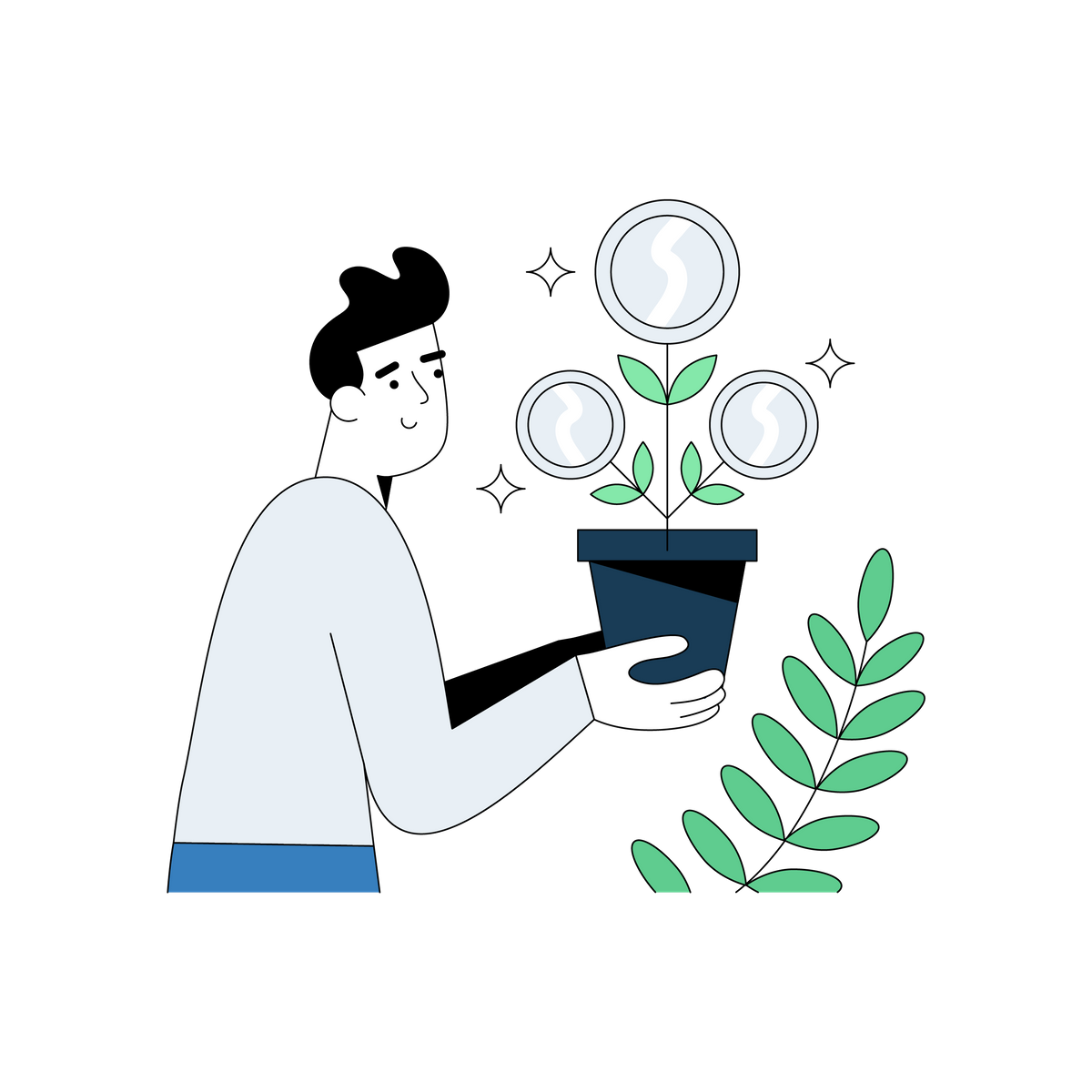 Illustration of a man holding a pot plant that's growing money.