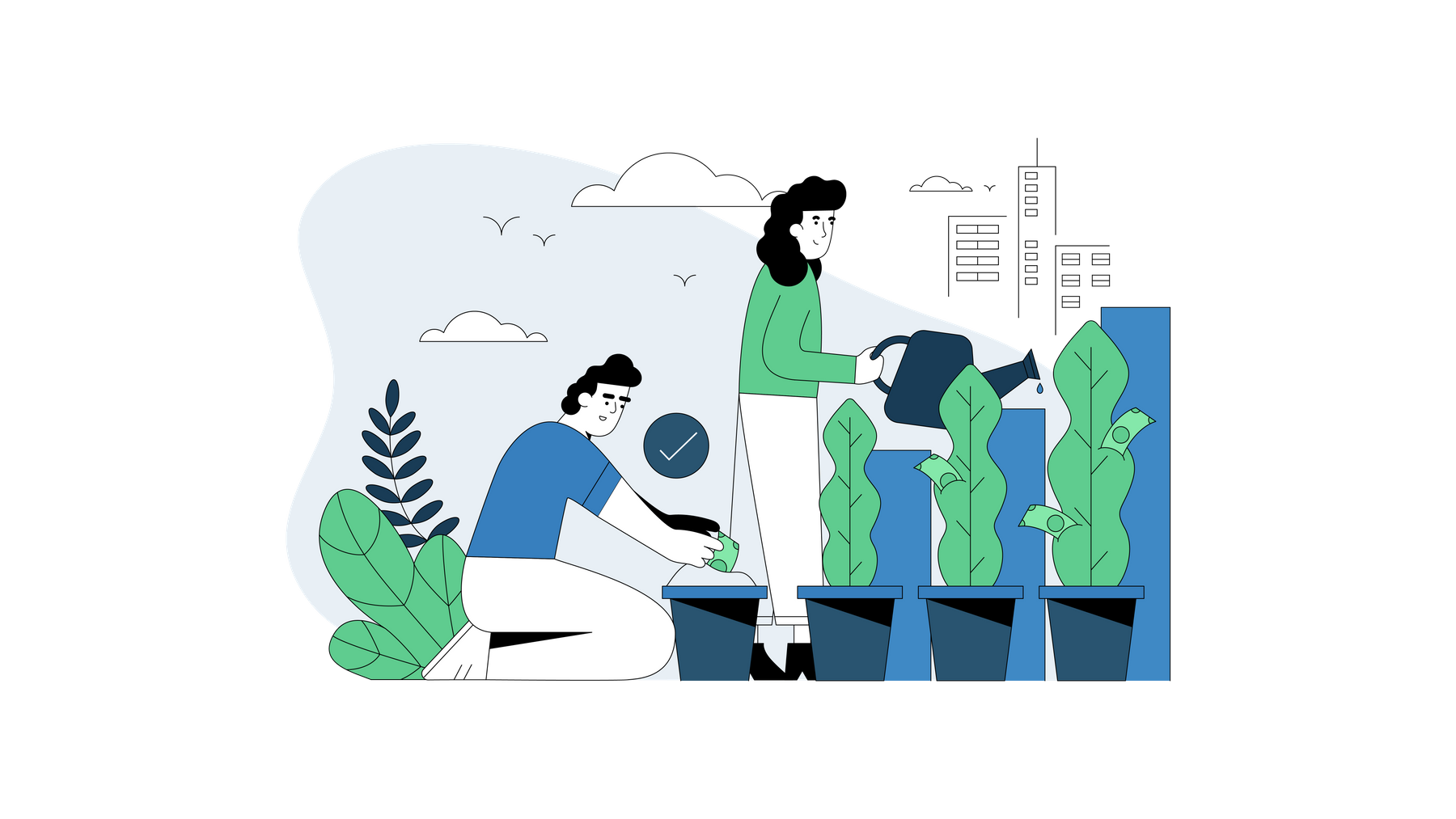 Illustration of man and woman watering plants.