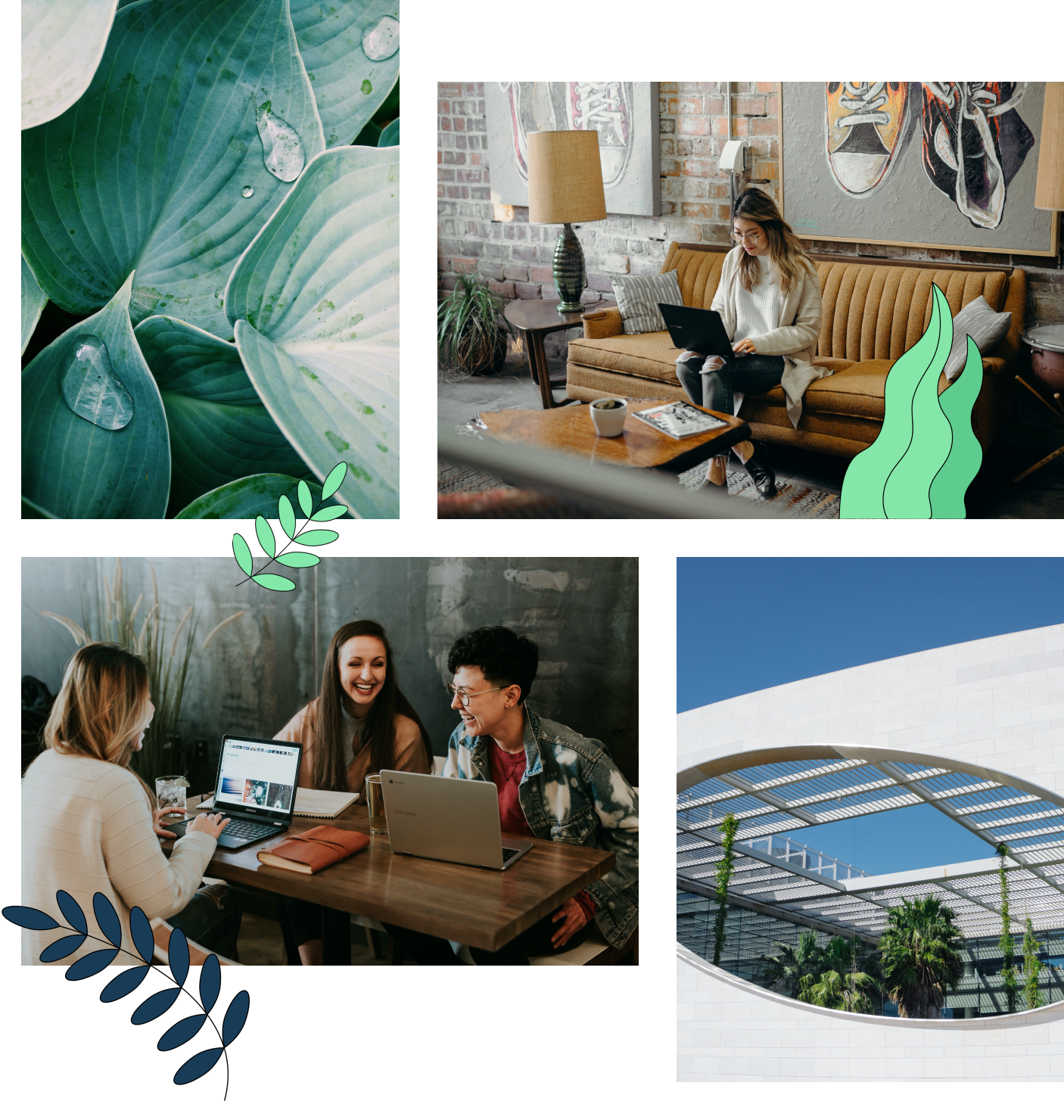 Collage of people working and green outdoor areas.