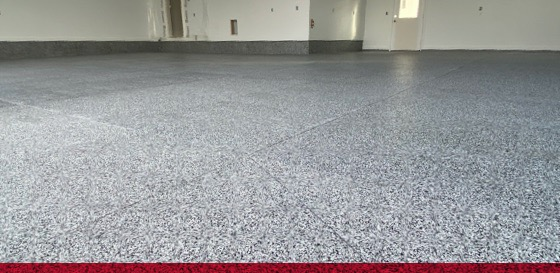 gray epoxy flake floor coating in a garage