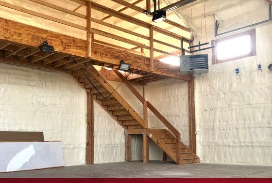 spray foam insulated shop with loft