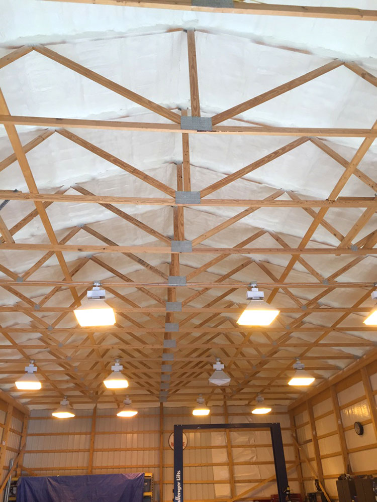 sedalia dog training barn with spray foam insulated ceiling