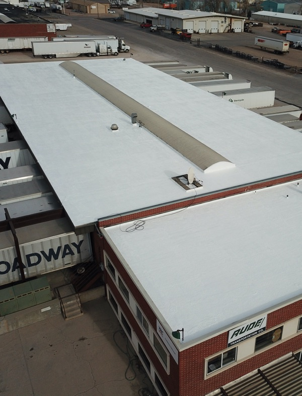 aerial view of new denver trucking center roof