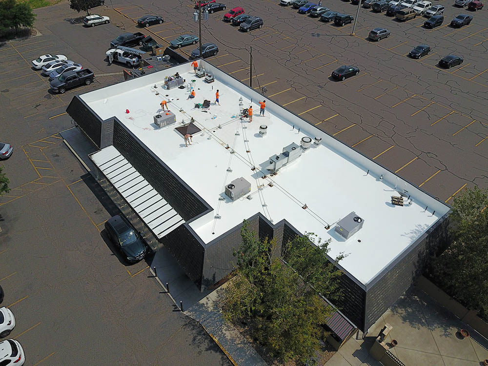 Aerial view of Fanelli's Amici's Restaurant roofing in Wheat Ridge, CO.