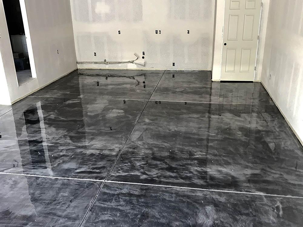 Metallic epoxy garage finished floor coating.