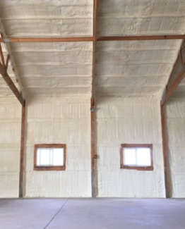 metal building with spray foam insulation