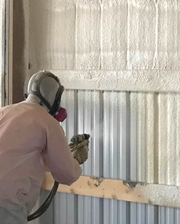 spray foam installer in metal building