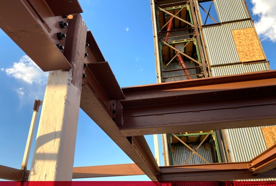 steel beams in new site construction