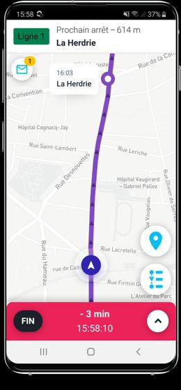 Capture d'écran guidage GPS conducteur bus et autocars SAEIV PYSAE