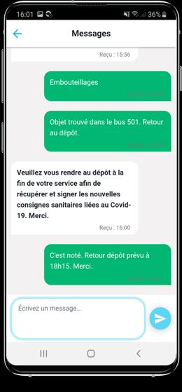 Capture d'écran messagerie pour les conducteurs SAEIV PYSAE