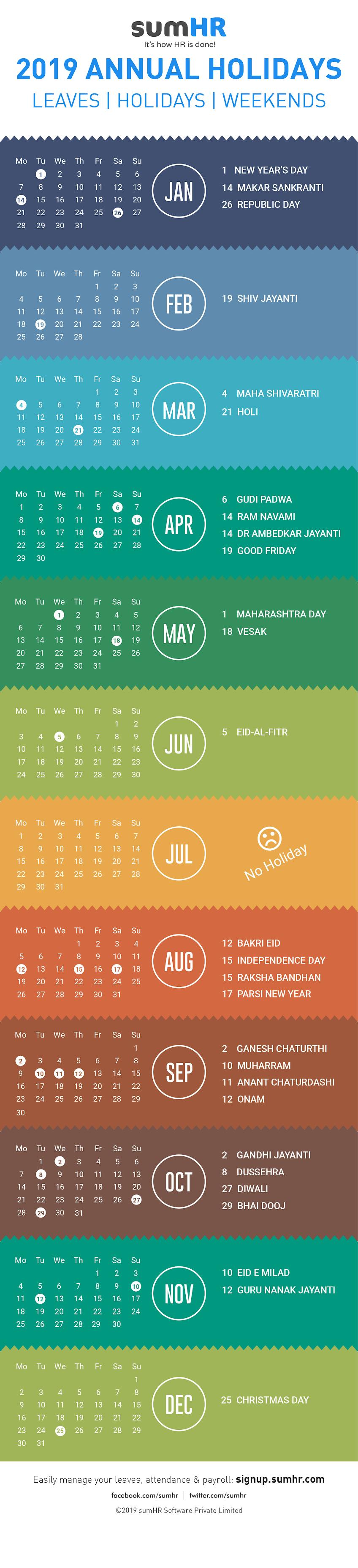 holiday calendar list 2019