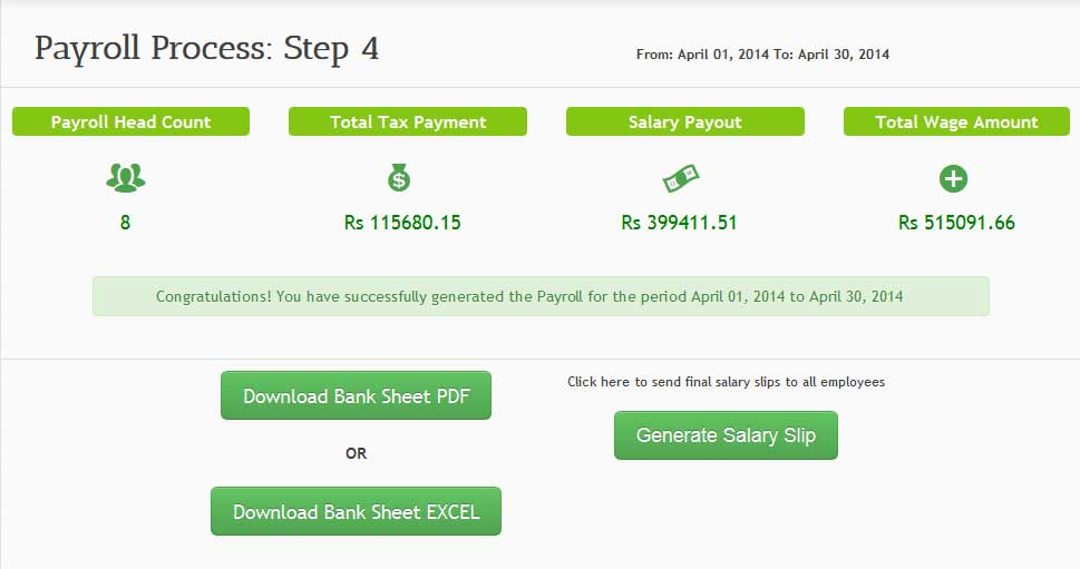 sumHR's Payroll Process Sucess Page