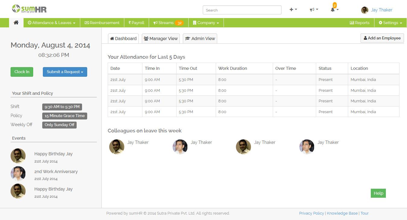 sumHR attendance history screenshot