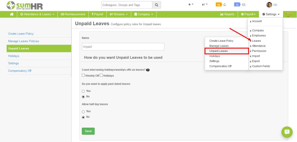 Online Leave Management System Unpaid Leaves