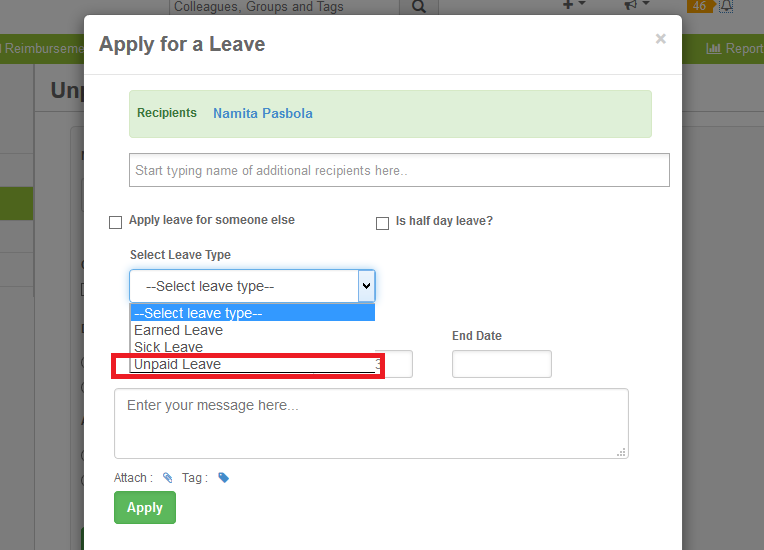 Unpaid Leaves Appform