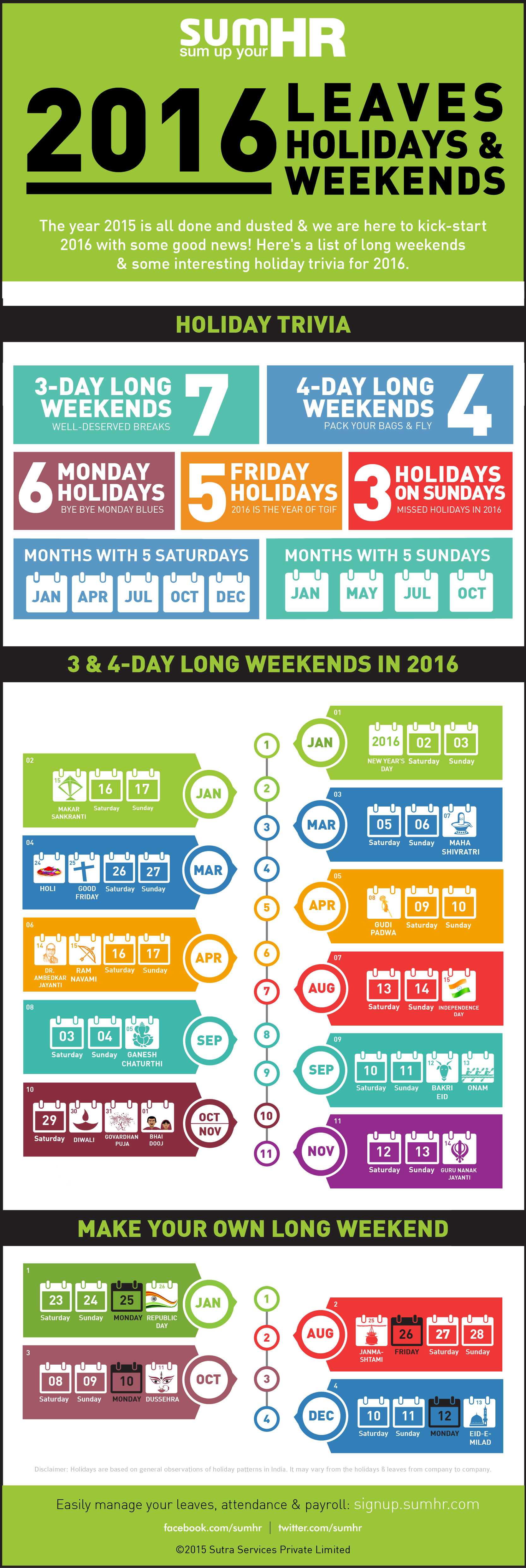 2016 India Holidays Infographic