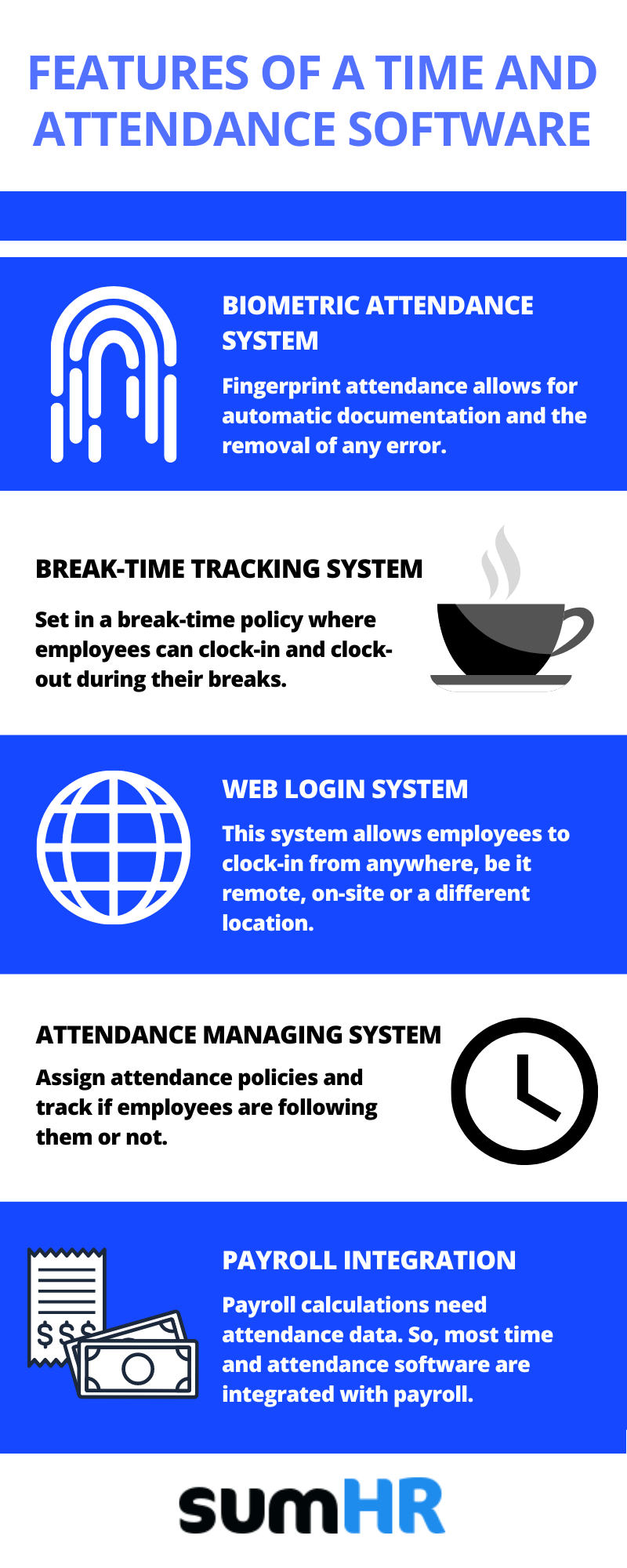 Features of attendance management system or attendance management software