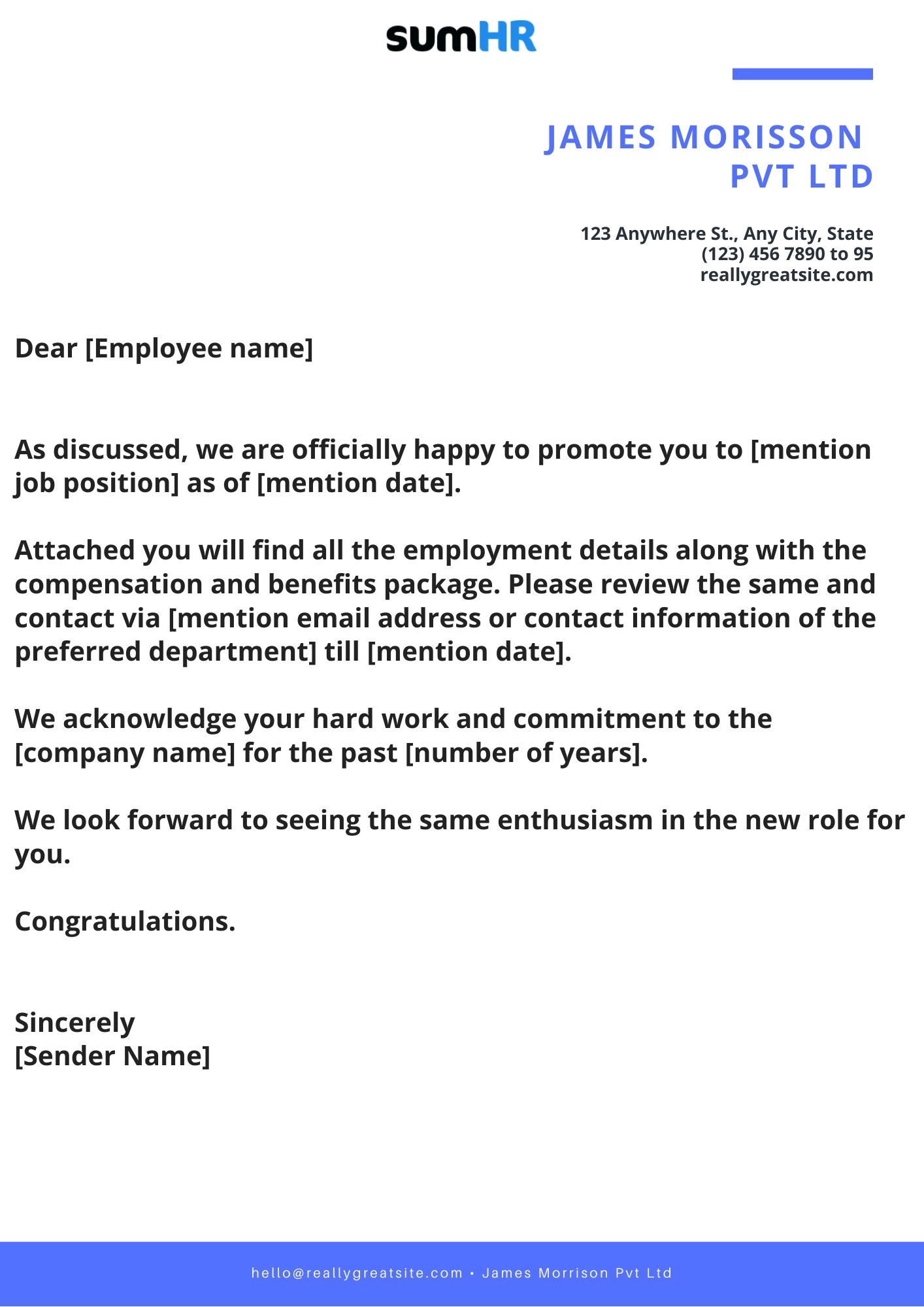 Internal Job Offer Template
