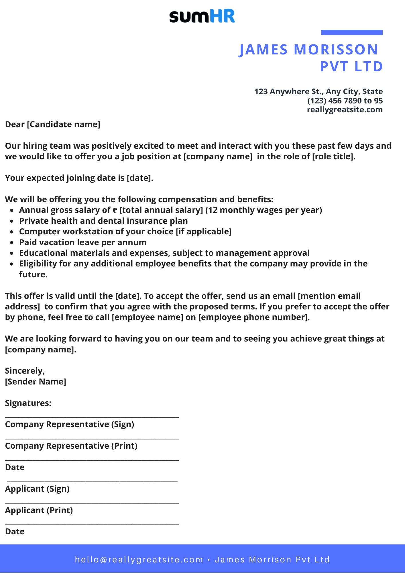 Workable Job Offer Template
