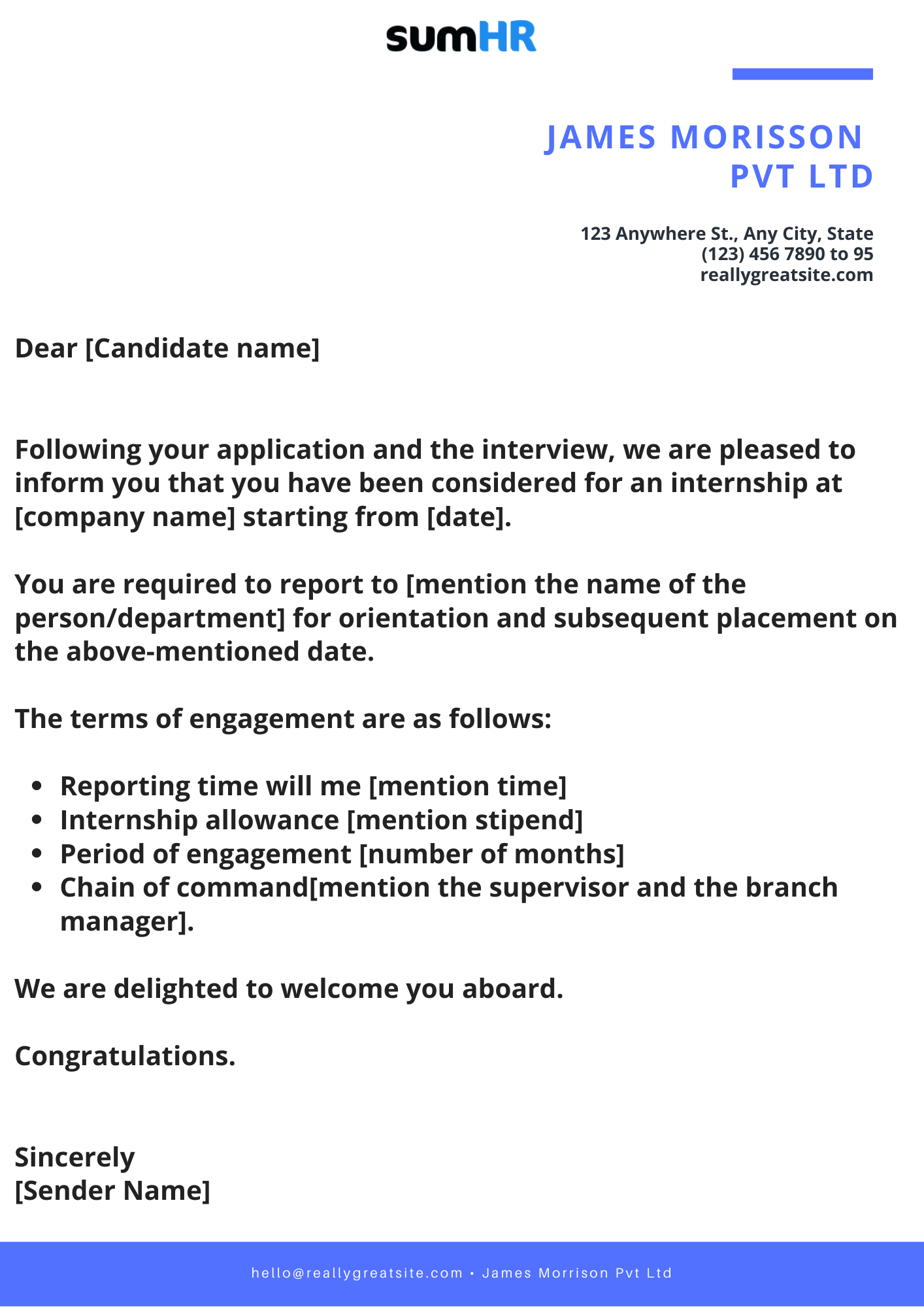 Internship Appointment Template
